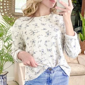 Oatmeal + periwinkle floral waffle knit top medium
